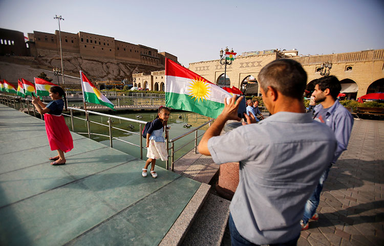 The Kurdistan flag at the castle of Erbil, Iraq on July 29, 2017. Kurdish authorities blocked the independent media outlet Nalia Radio and Television from broadcasting ahead of a regional referendum on Kurdish independence next month. (Reuters/Khalid Al-Mousily)