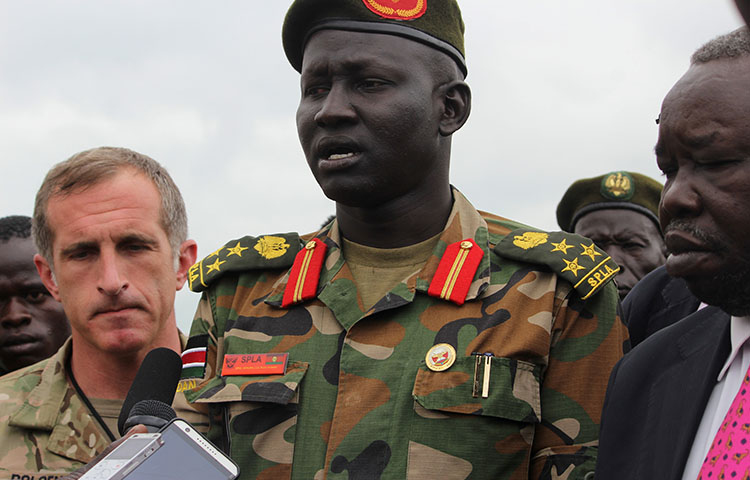 South Sudan army spokesman Brigadier General Lul Ruai Koang on August 29, 2017 speaks to the media about the death of U.S. journalist Christopher Allen. Allen was killed while covering the ongoing civil war in South Sudan between government and rebel forces. (Reuters/Samir Bol)