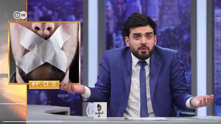 A screen shot of Ahmed al-Basheer's program shows him reacting to legal threats from Iraqi regulators.
