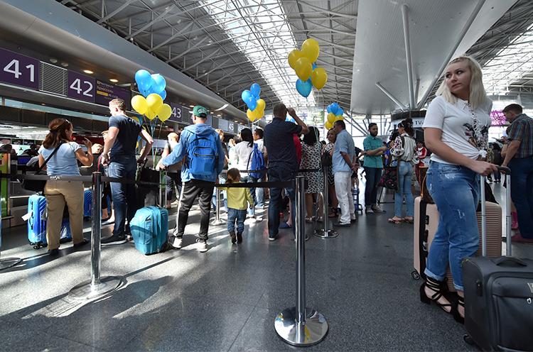 Boryspil airport in Kiev in June 2017. An Uzbek journalist living in exile, who was detained at a Kiev airport on September 20, could face extradition. (AFP/Sergei Supinsky)