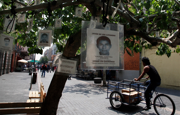 Images of 43 missing students from Guerrero state hang from a tree in Mexico City . Journalists reporting on violence in the state, and on the case of the students, face threats and violence. (AP/Marcos Ugarte)