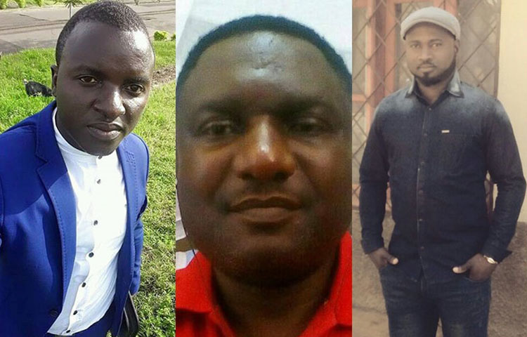 Cameroonian journalists, from left, Atia Tilarious Azohnwi, Tim Finnian, and Hans Achomba are released from prison. (Family handouts)
