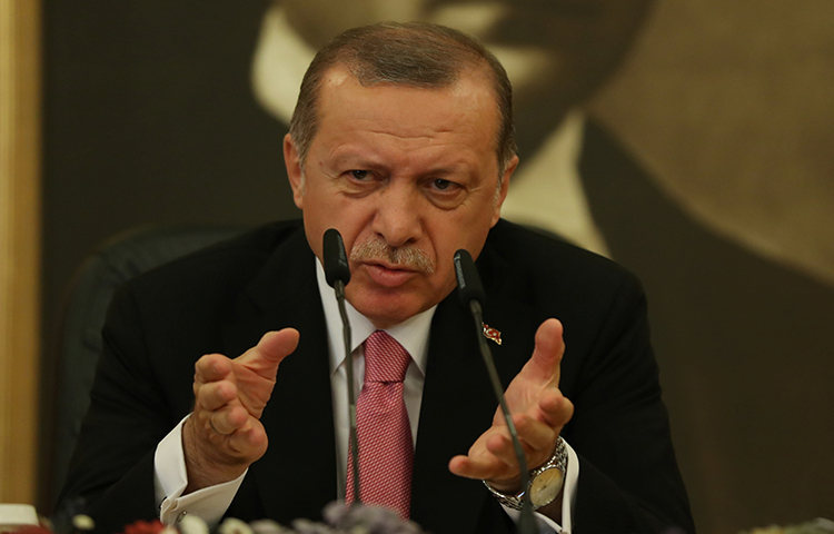 Turkish President Tayyip Erdogan speaks during a news conference in Istanbul, Turkey on September 8, 2017. An Istanbul court found Çağlar Özbilgin, an editor for the online newspaper Sendika and columnist for leftist newspaper Halkın Sesi, guilty of insulting the Turkish president for referring to the leader as a