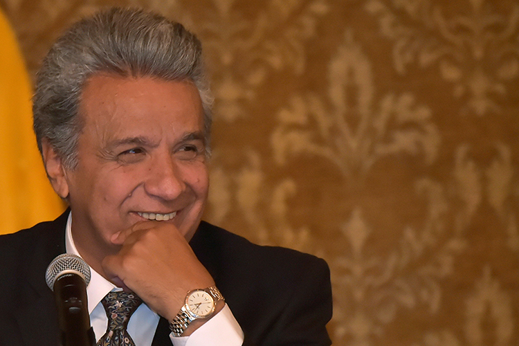Ecuadoran President Lenín Moreno, pictured in Quito in October. The president is urging journalists to embrace their watchdog function. (AFP/Rodrigo Buendia)