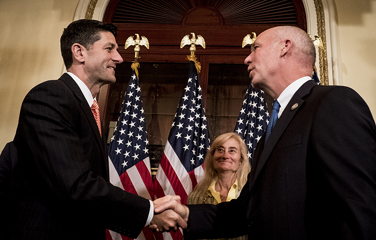 Greg Gianforte. right, with Paul Ryan, before his swearing in ceremony in June. CPJ met with the congressman to discuss press freedom issues on October 5. (Pete Marovich/Getty Images/AFP)