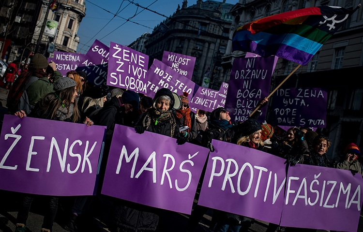 A women's rights march in Belgrade on January 21, 2017. Women journalists in Serbia say they face threats of sexual violence and online abuse over their critical reporting. (AFP/Andrej Isakovic)