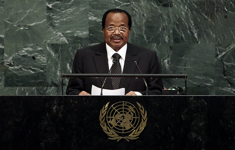 President Paul Biya of Cameroon addresses the United Nations General Assembly, at U.N. headquarters on September 22, 2017. A trial judge on October 9 charged three journalists with criminal defamation for their