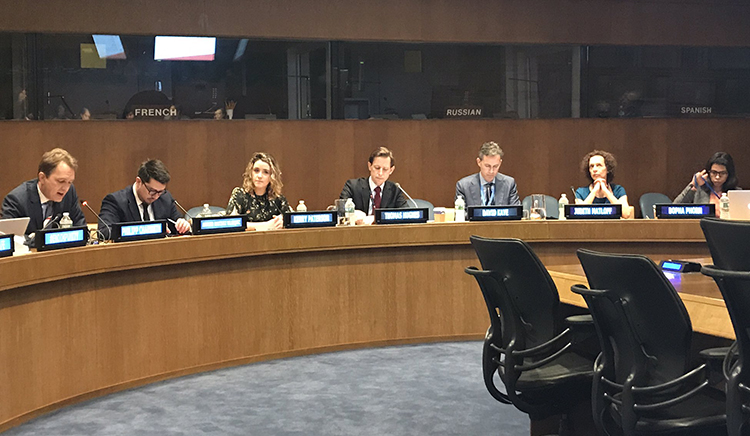 CPJ Advocacy and Communications Manager Kerry Paterson, third from left, joins a side panel on journalist safety and impunity at the UN in New York. (Article 19)