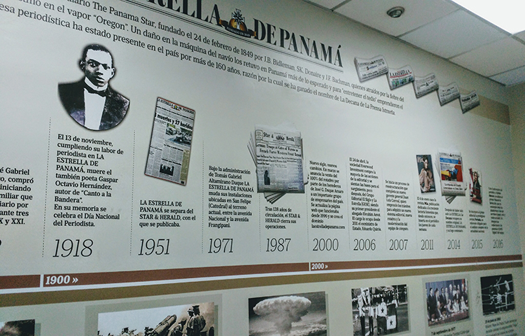 A timeline on the wall at the La Estrella de Panamá office highlights important dates in the newspaper's history.(CPJ/Natalie Southwick)