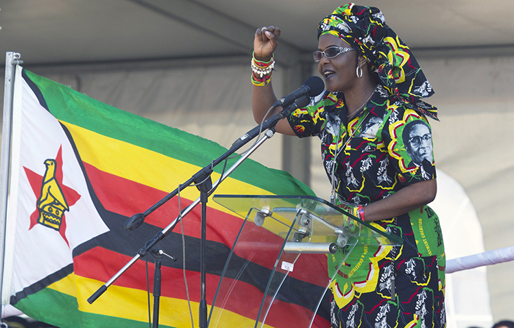 Zimbabwean First Lady Grace Mugabe addresses party supporters in Gweru, Zimbabwe, on September 1. Police detained a journalist, Kenneth Nyangani, for reporting that Mugabe allegedly donated used underwear and women's nightgowns to ruling party supporters. (AP/Tsvangirayi Mukwazhi)