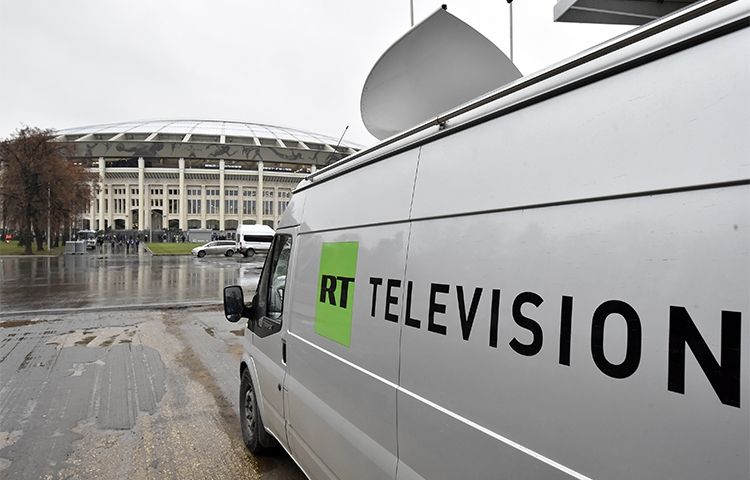 A RT broadcast van, pictured outside Luzhniki stadium in Moscow on November 11, 2017. The Russian broadcaster says it complied with a U.S. order to register as a foreign agent. (AFP/Kirill Kudryavtsev)