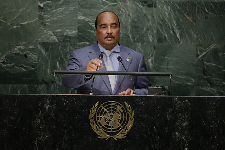 Mauritania's President Mohamed Ould Abdel Aziz addresses the Sustainable Development Summit Saturday, Sept. 26, 2015, at the United Nations headquarters. Protesters have called for President Mohamed Ould Abdel Aziz to punish freelance blogger Mohamed Cheikh Ould Mohamed for an article he wrote that the protesters claim is blasphemous. (AP/Frank Franklin II)