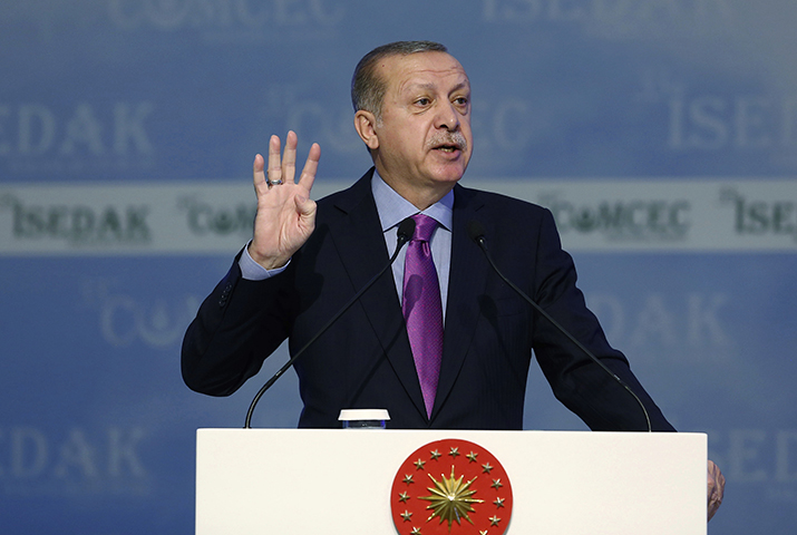 Turkey's President Recep Tayyip Erdogan addresses a meeting of Organization of Islamic Cooperation in Istanbul, on November 22, 2017. Several days prior, Erdoğan called journalists elitists and said that they are the