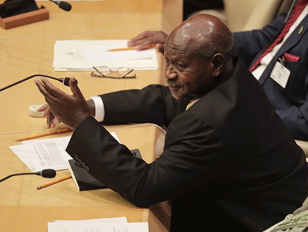Uganda's President Yoweri Museveni speaks during a meeting of members of the African Union during the United Nations General Assembly on September 20, 2017, at U.N headquarters. Ugandan authorities raided the newspaper Red Pepper after it published an article that said Uganda's president Yoweri Museveni was planning to overthrow Rwanda's President Paul Kagame. (AP/Julie Jacobson)