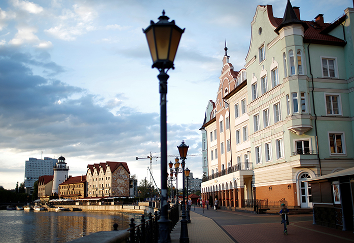 A street in Kaliningrad, Russia, July 31, 2017. The editor-in-chief and owner of the independent, Kaliningrad-based weekly Novye Kolyosa, Igor Rudnikov, was detained by Russia's security service, and faces criminal prosecution, according to media reports. (Reuters/David Mdzinarishvili)