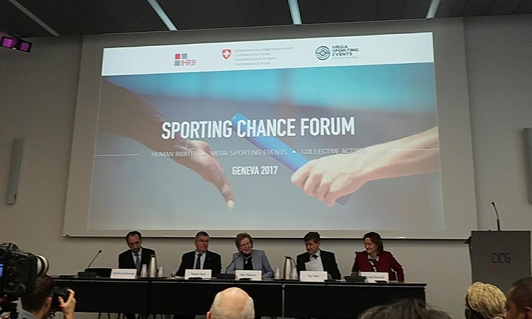 A panel at the Sporting Chance Forum in Geneva discusses the obligation of host nations to create a safe environment for the press. (Courtney C. Radsch/CPJ)