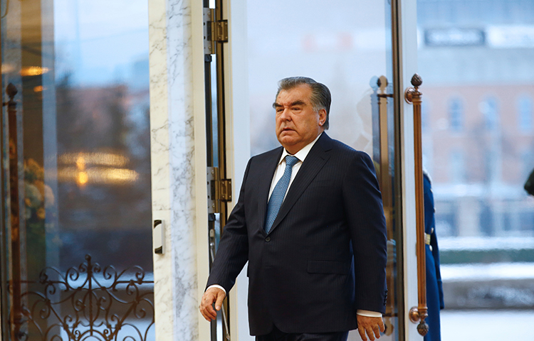 Tajikistan's President Emomali Rahmon at the Independence Palace in Minsk, Belarus on November 30, 2017. Tajik authorities arrested journalist Khayrullo Mirsaidov weeks after he published an open letter to Rahmon and several other officials asking them to crack down on corruption. (Reuters/Vasily Fedosenko)