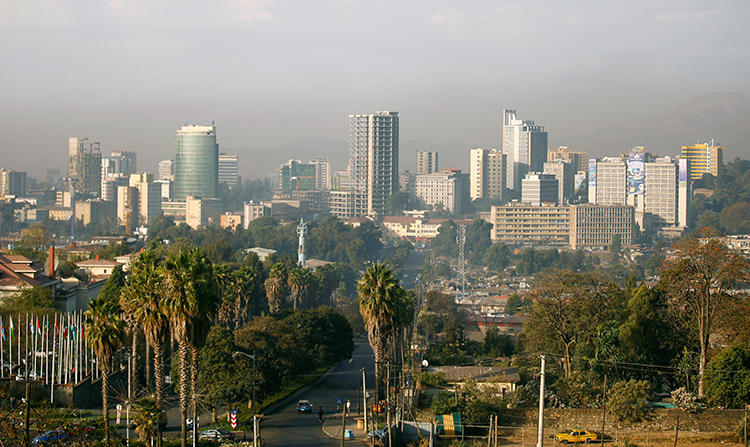 The skyline of Ethiopia's capital Addis Ababa, in January 2017. Press freedom conditions remain stark, with journalists jailed or facing legal action, internet shutdowns, and reports of surveillance. (Reuters/Tiksa Negeri)