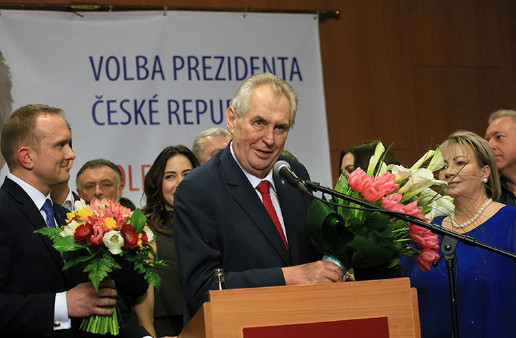 President Miloš Zeman gives a victory speech in Prague after being reelected on January 27. Reporters covering the Czech presidential election say they were harassed and verbally assaulted. (AFP/Radek Mica)