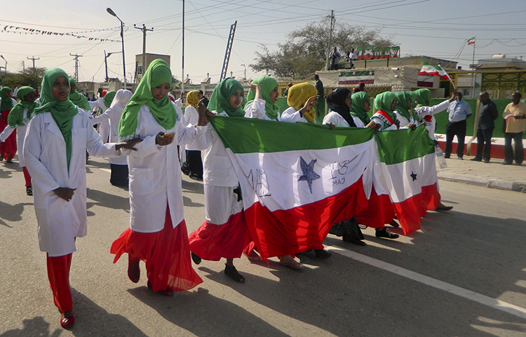 Women march in a procession to celebrate the 25th anniversary of proclaimed independence in the capital Hargeisa, Somaliland, a breakaway region of Somalia on May 18, 2016. (AP/Barkhad Dahir)