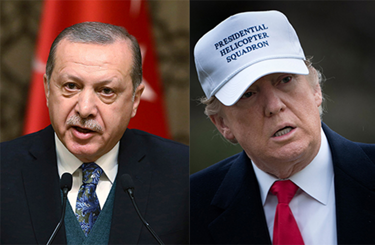 Presidents Recep Tayyip Erdoğan of Turkey and Donald Trump of the U.S. (AP/AFP)
