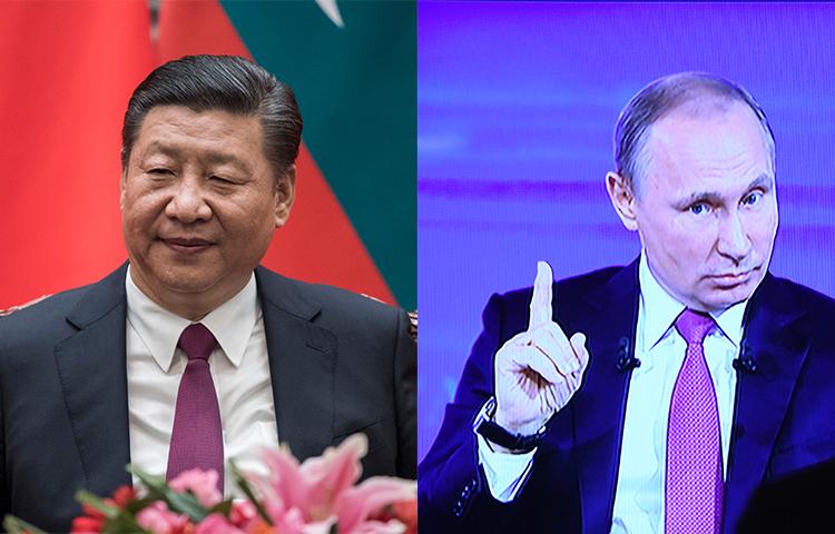 Presidents Xi Jinping of China and Vladimir Putin of Russia. (AP/AFP)