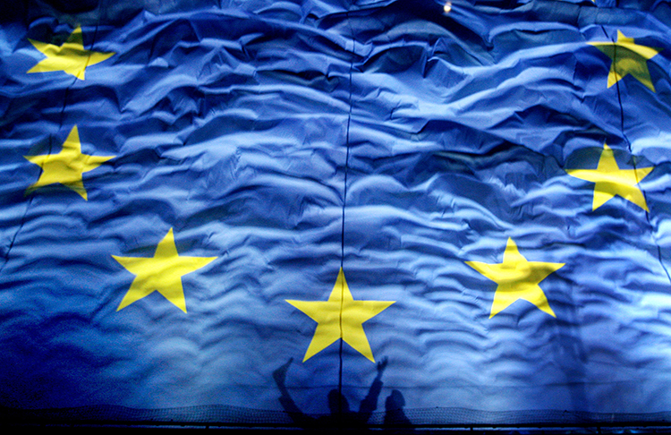 An EU flag, pictured in January 2012. The European Parliament is due to vote this month on legislation around exports of surveillance software. (AP/Vadim Ghirda)