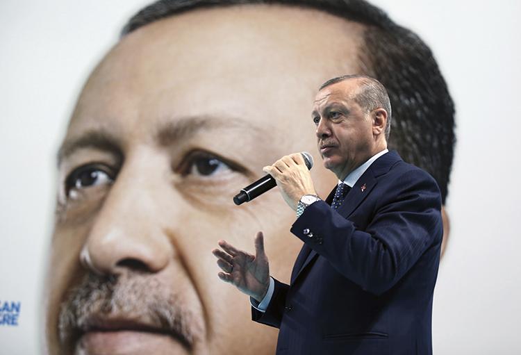 President Recep Tayyip Erdoğan, pictured in December 2017. Turkey is the leading jailer of journalists. (AP/Pool)