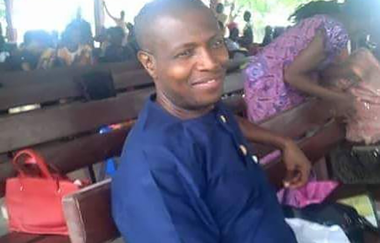 Nigerian journalist Timothy Elombah, pictured, is detained over an article that he says he didn't write. (Family handout)