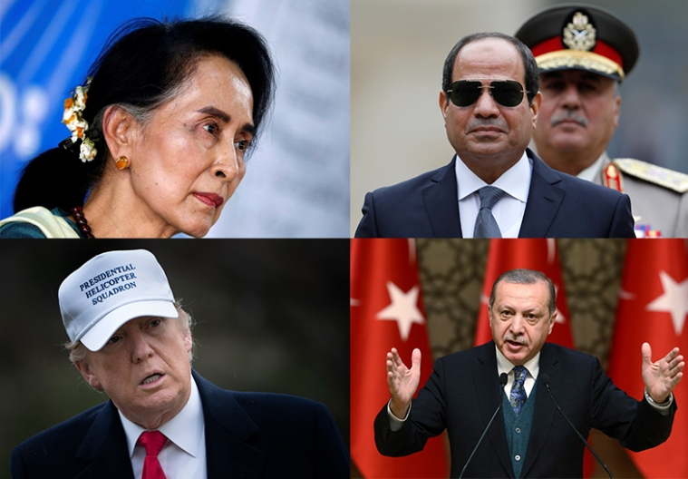 Press freedom oppressors, clockwise from left: Aung San Suu Kyi of Myanmar, Abdel Fattah el-Sisi of Egypt, Recep Tayyip Erdoğan of Turkey, and Donald Trump of the U.S. (Reuters/AFP/AFP/AP)