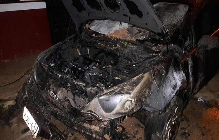 An attacker set fire to Juan Berríos Jiménez's car, pictured, in the early hours of January 6. (Juan Berríos Jiménez)