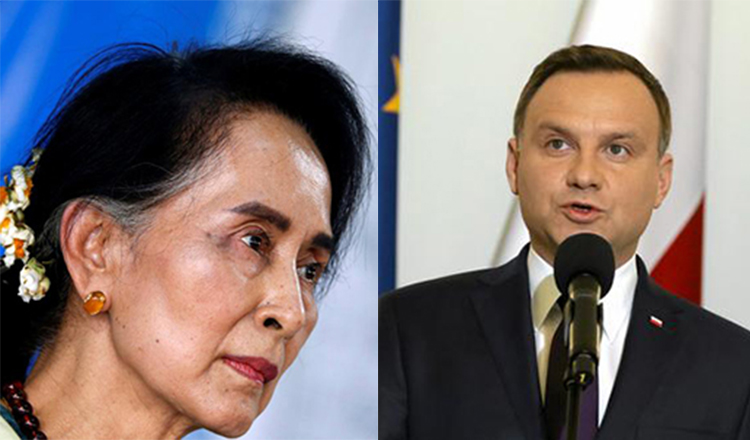Myanmar's Aung San Suu Kyi and Poland's Andrzej Duda. (Reuters)