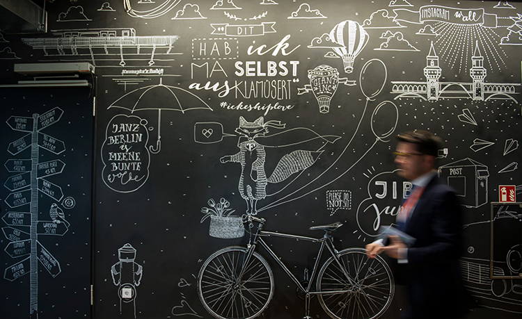 A mural at the Facebook office in Berlin. A new law in Germany requires Facebook and other large social media platforms to quickly delete posts reported as inappropriate. (Reuters/Stefanie Loos)