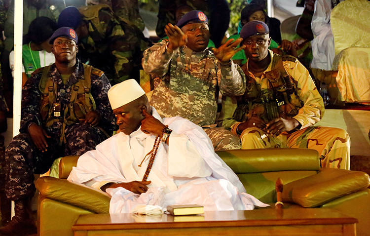 Former Gambia President Yahya Jammeh, pictured in November 2016, is among the suspected human rights abusers to be penalized under the U.S. Magnitsky Act. (Reuters/Thierry Gouegnon)