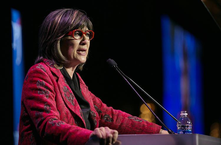 Christiane Amanpour speaks at CPJ's International Press Freedom Awards in November 2017. (AFP/Getty Images/Kevin Hagen)