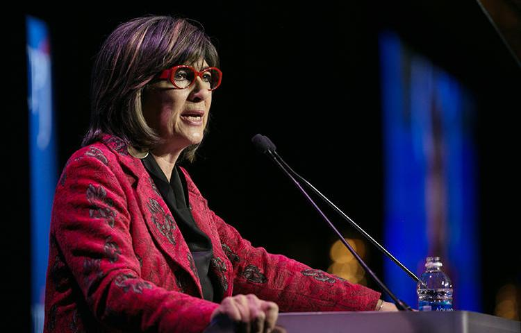 Christiane Amanpour speaks at CPJ's International Press Freedom Awards in November 2017. (AFP/Getty Images/Kevin Hagen)