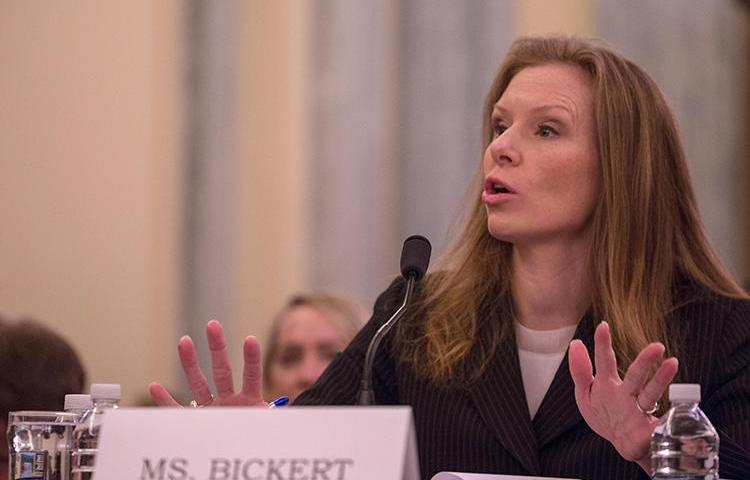 Facebook's head of global policy management, Monika Bickert, testifies at a Senate hearing in January on monitoring extremist content online. Companies like Facebook and Google are at the forefront of how much of the world receives its news. (AFP/Getty Images/Tasos Katopodis)