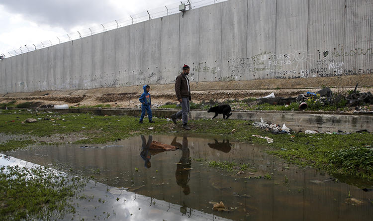 A Palestinian and a boy walk a dog along the Israeli barrier in the West Bank town of Qalqilyah in February. Israeli security forces arrested a Quds News Network reporter at his West Bank home on February 15. (AFP/Jaafar Ashtiyeh)