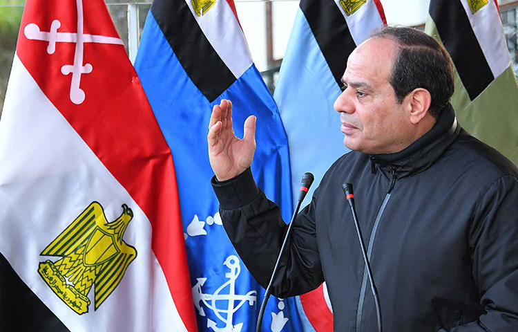 Egyptian President Abdel Fattah Al Sisi speaks at the Military Academy in Cairo, Egypt, February 19, 2018. The Egyptian government has cracked down on the media ahead of a scheduled presidential elections next month, in which President Abdel Fattah el-Sisi is running virtually unopposed, according to media reports. (Reuters/The Egyptian Presidency/Handout)