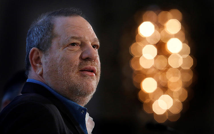 Harvey Weinstein speaks at a New York conference in December 2012. Allegations that Weinstein hired private investigators to try to kill negative stories highlight the methods some people use to try to censor the press. (Reuters/Carlo Allegri)