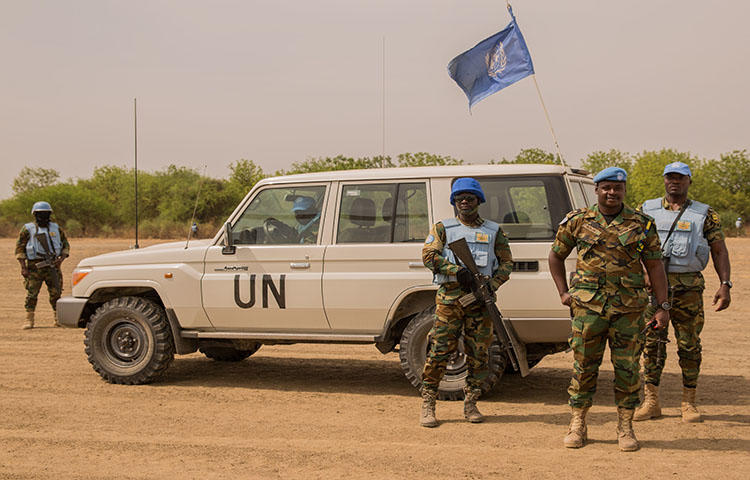 Peacekeepers from the United Nations Mission in South Sudan patrol on March 7, 2018. The South Sudanese Media Regulatory Authority ordered the UN-backed station Radio Miraya to suspend operations because the station had not acquired a broadcasting license, according to reports. (AFP/Stefanie Glinski)