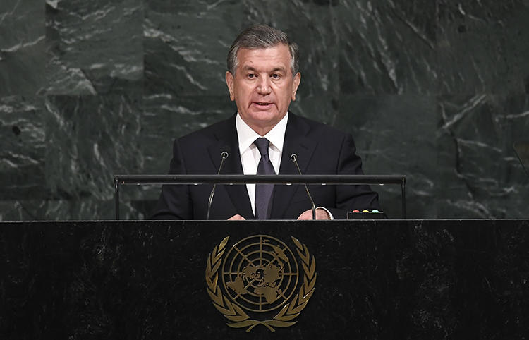 President Shavkat Mirziyoyev addresses the UN General Assembly in September 2017. Uzbekistan has released the world's longest-jailed journalist, but two others are still in jail awaiting trial. (AFP/Jewel Samad)
