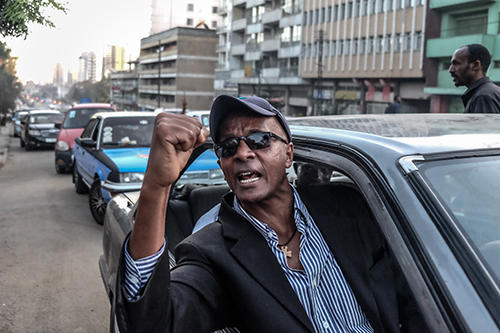 Ethiopian journalist Eskinder Nega, pictured after being freed from jail. (AFP/Yonas Tadesse)