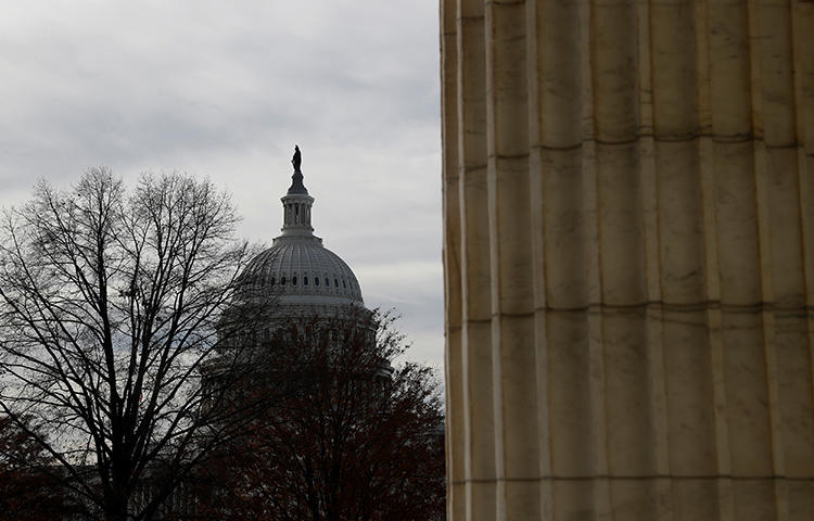 The Capitol Building is seen from Russell Senate Office Building in Washington, D.C. in December 2017. A group of senators is trying to attach the CLOUD Act to an upcoming spending bill that needs to be passed before midnight on March 23 to avoid government shutdown, according to news reports. (Reuters/Aaron P. Bernstein)