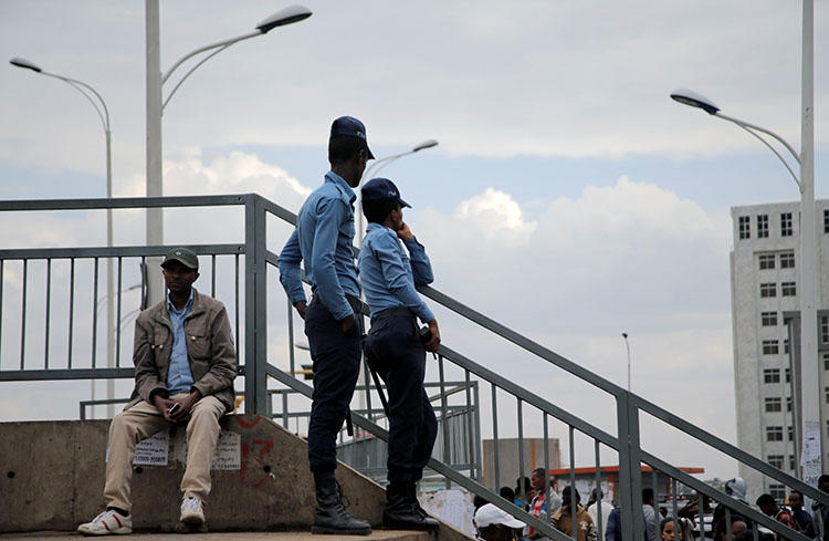 Police patrol in Addis Ababa. Security officers detained a critical blogger near the Woliso campus of Ethiopia's Ambo University. (Reuters/Tiksa Negeri)