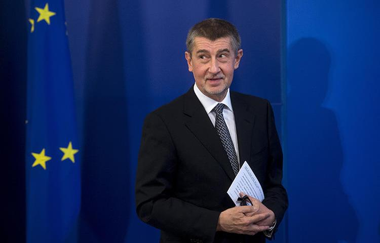 Czech Prime Minister Andrej Babis at a news conference in Bulgaria in January. Three investigative journalists say police have questioned them repeatedly over their reporting on allegations of wrongdoing by Babis. (AFP/Nikolay Doychinov)