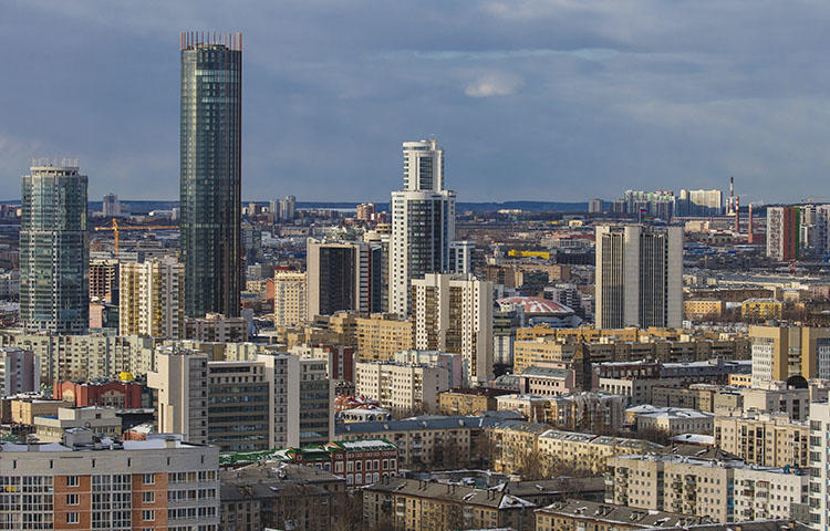 A view of the center of Yekaterinburg from the stands of the new the World Cup stadium in March 2018. Russian investigative journalist Maksim Borodin died after falling on April 12, 2018, from the balcony of his fifth-floor apartment, according to reports. (AP/Anton Basanaev)