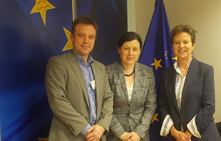CPJ's EU representative, Tom Gibson, and CPJ board member Kati Marton meet with Věra Jourová, commissioner for justice, gender equality, and consumers. (CPJ)