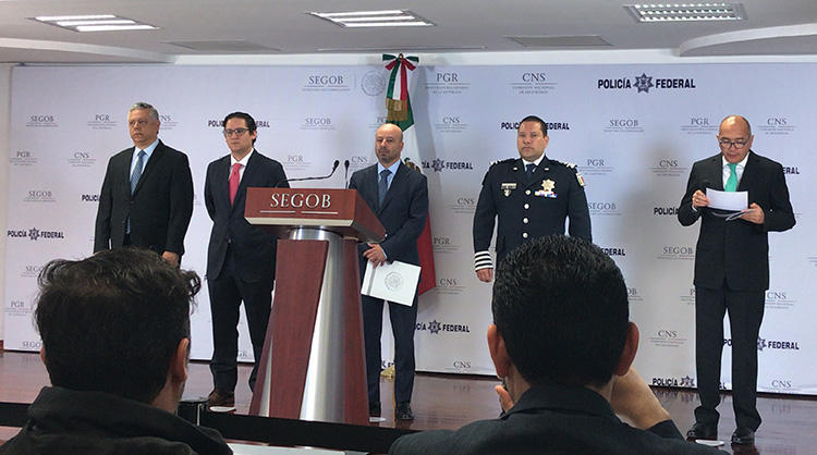 The press conference, attended by CPJ, in which police and government officials announce the arrest of a suspect in the murder of Javier Valdez Cárdenas. (CPJ/Jan-Albert Hootsen)