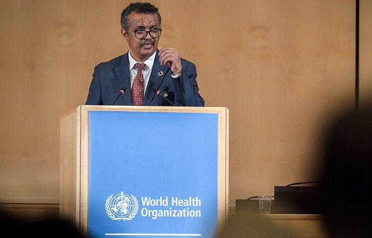 World Health Organization Director-General Tedros Adhanom Ghebreyesus delivers a speech at the World Health Assembly, an annual meeting with health representatives, on May 21, 2018 in Geneva, Switzerland. The World Health Organization blocked Taiwanese media outlets from attending the assembly. (Fabrice Coffrini/AFP)